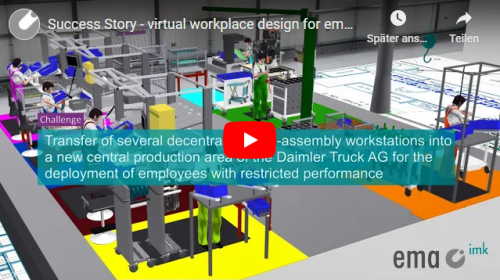 Virtual workplace design for the value-added deployment of employees with restricted performance for Daimler Truck AG